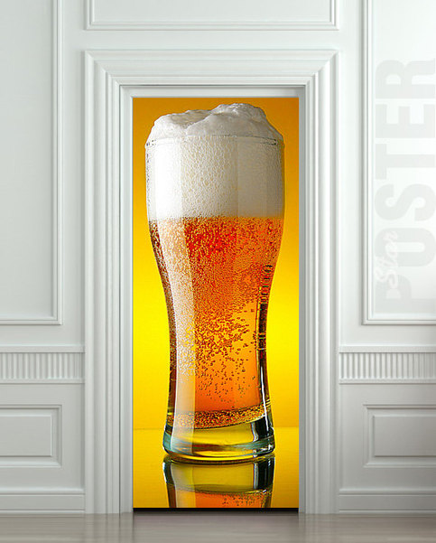 Door Sticker Beer Glass Porcelain Cup Goblet Mural Decole