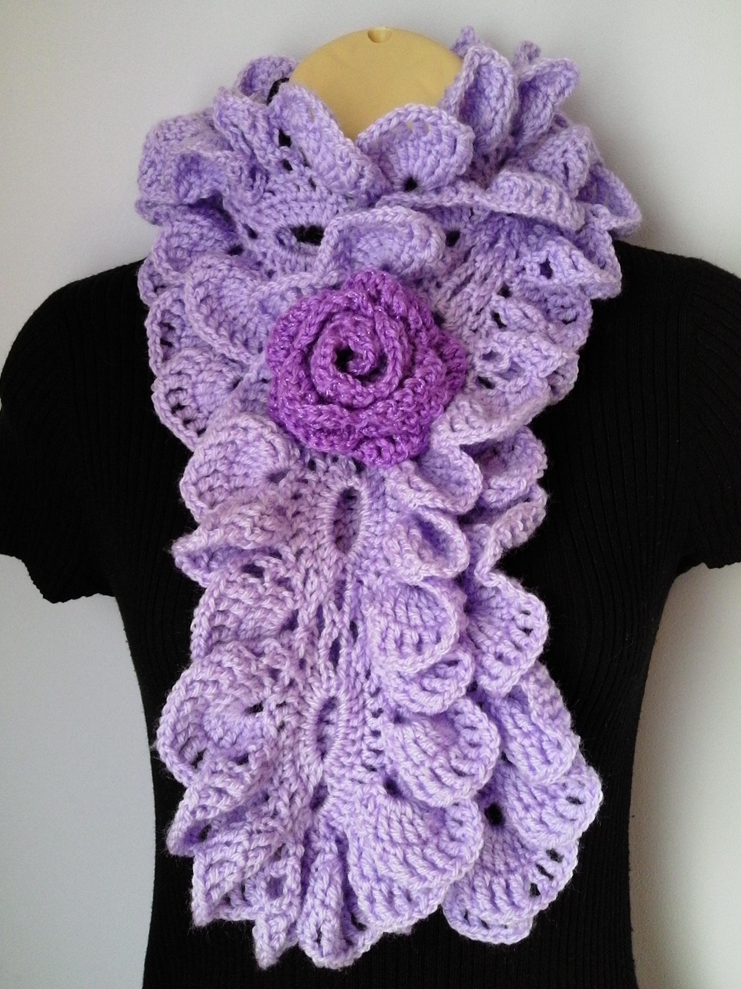 Crochet Scarf with Flower Brooch / Neckwarmer / Ruffle ...