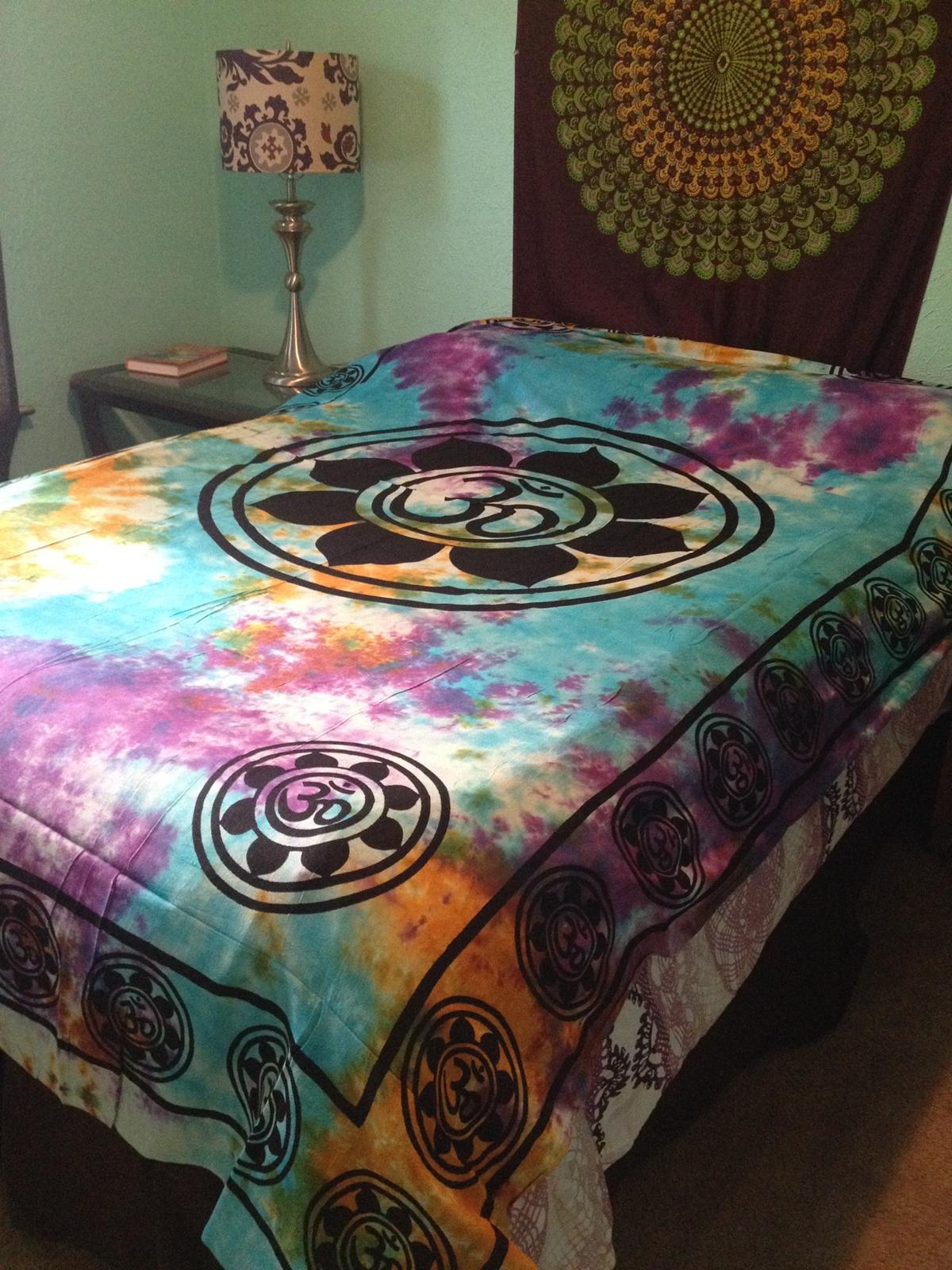 Om Aum Yoga Indian Lotus Flower India Hippie Boho Tie Dye Wall