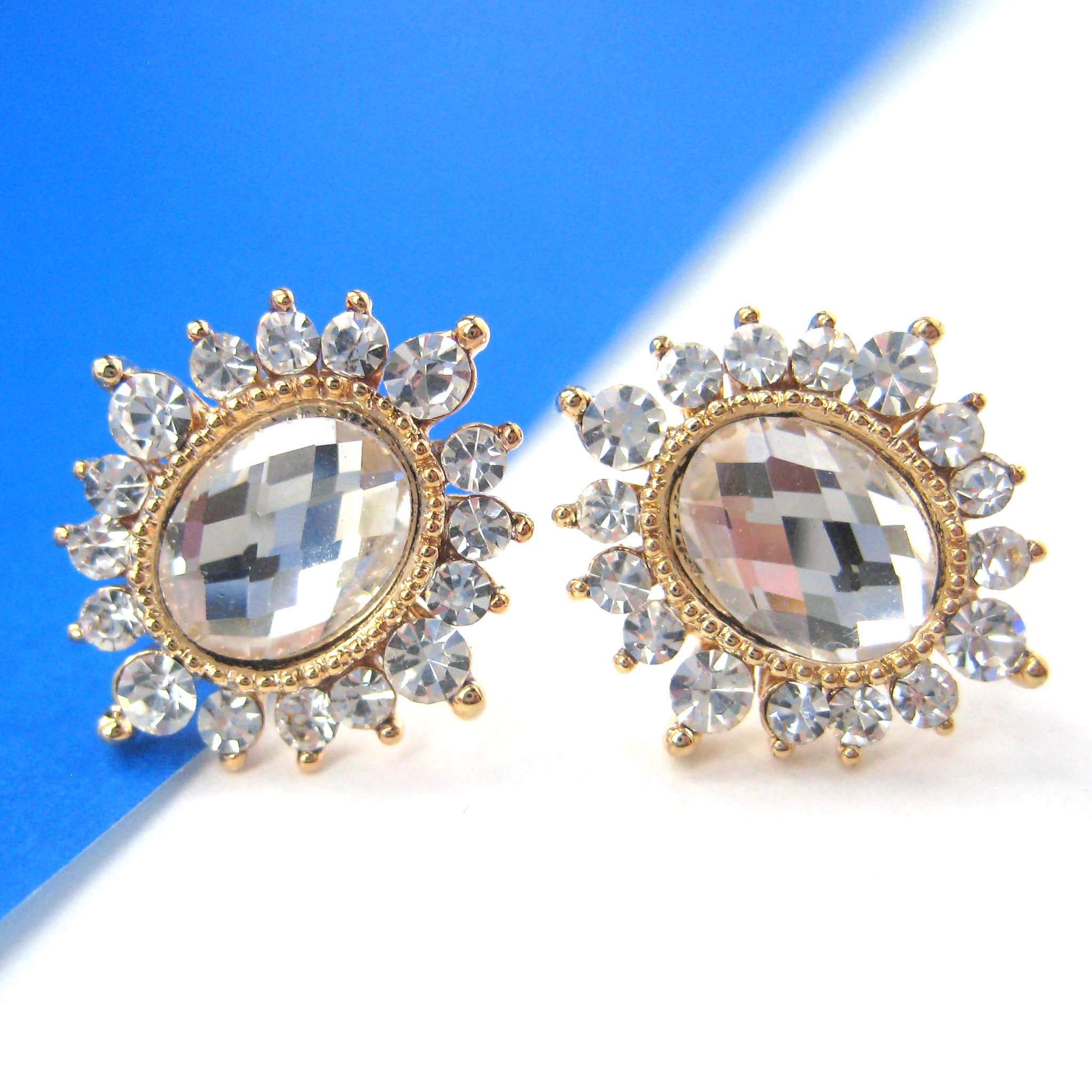 Tiny White Snowflake Stud Earrings In Gold With