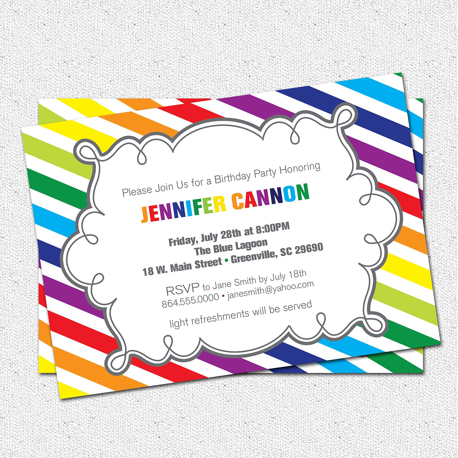 Birthday Party Invitations Girl Rainbow Colorful Modern Diagonal