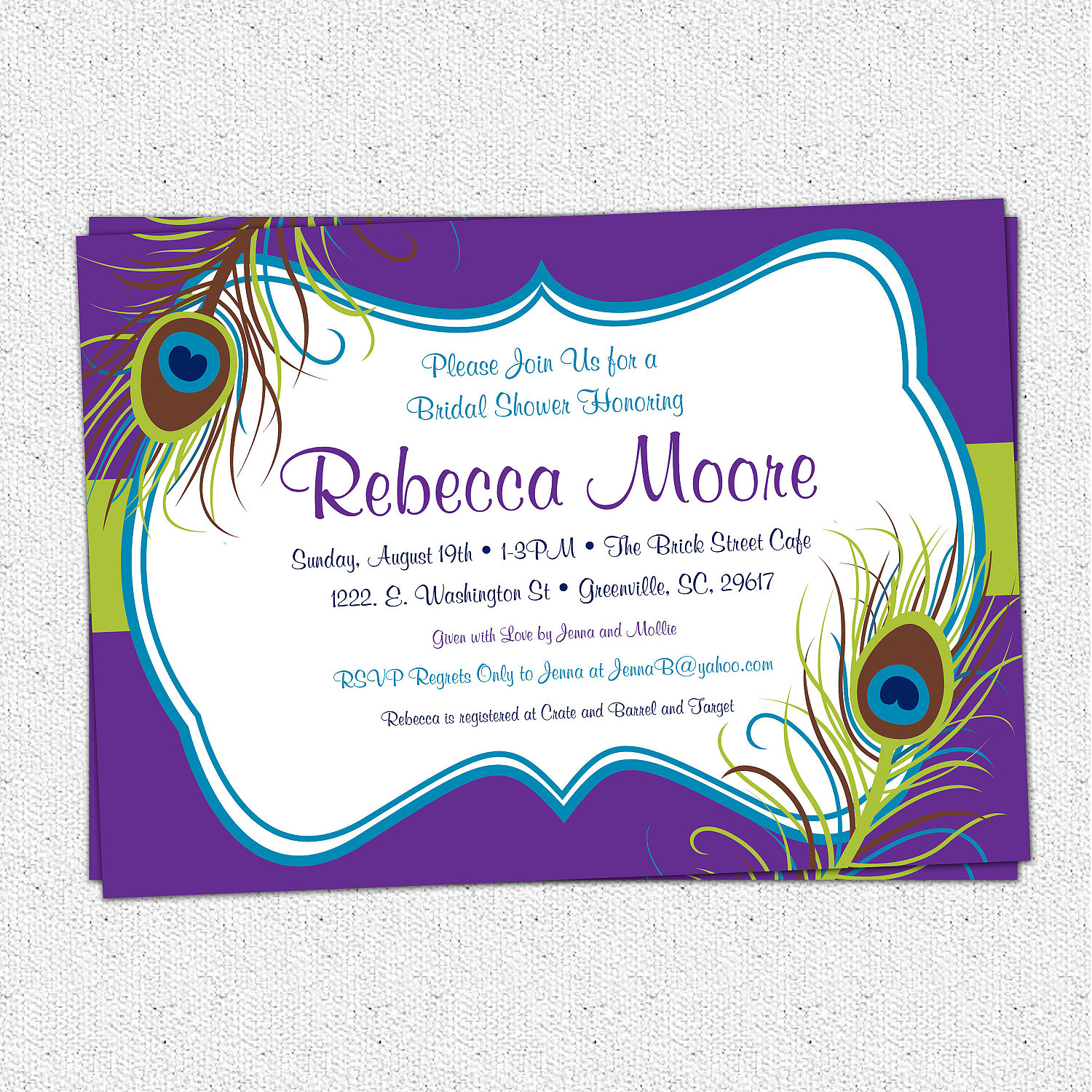 Peacock Feather Invitations Bridal Shower Baby Shower Birthday Or
