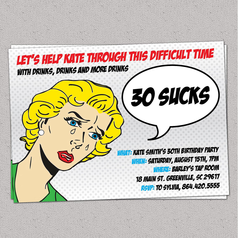 30 Sucks Birthday Party Invitation Retro Pulp Woman Funny Thirty 30th