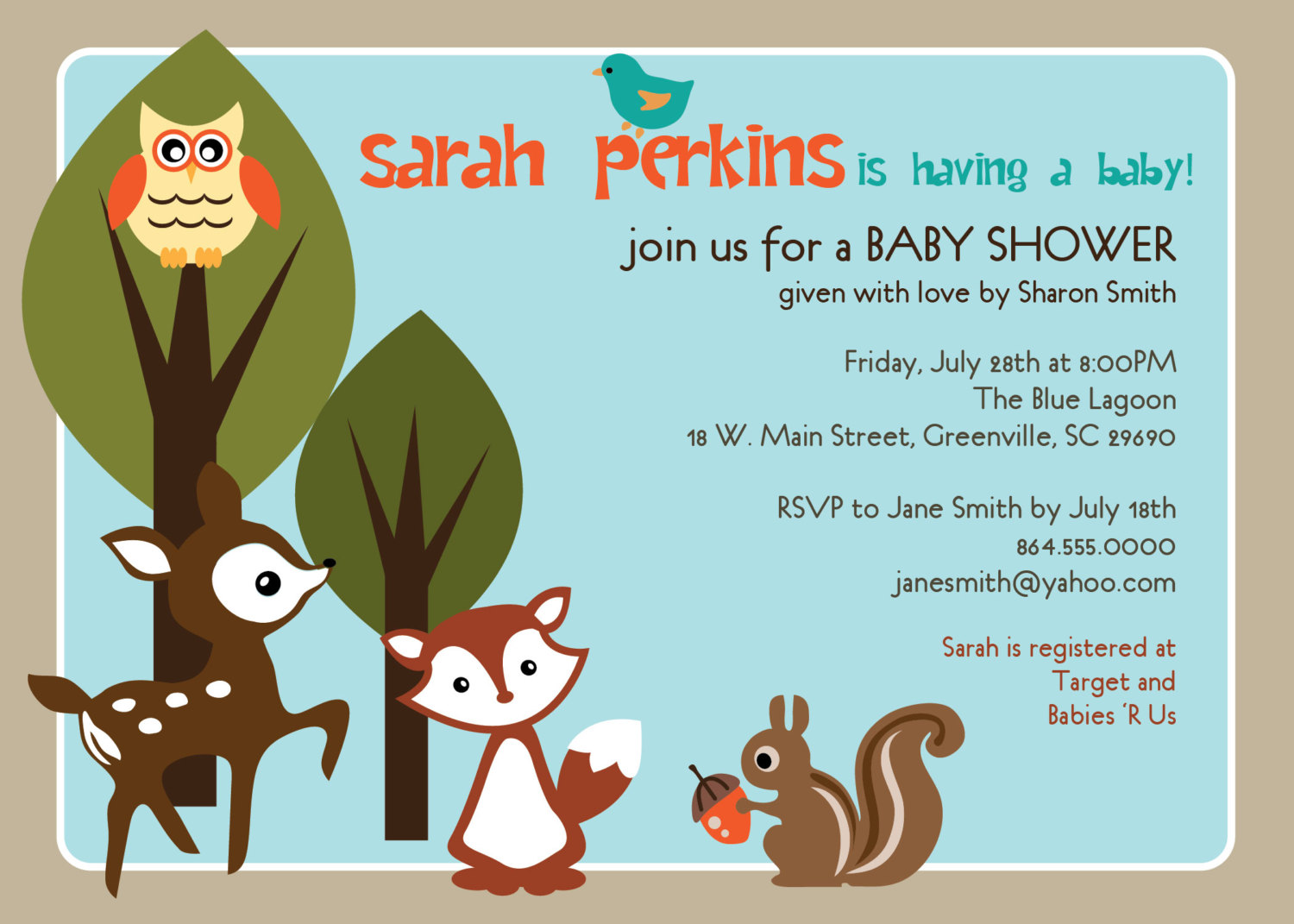 Perfect Baby Shower Invitations, Woodland Animals Creatures Forest, Unisex  NH42