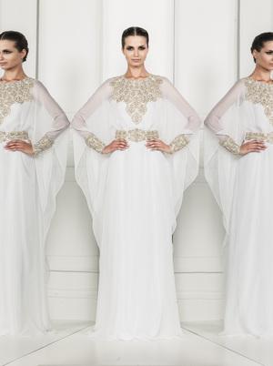 Zuhair Murad Fashion Crew Long Sleeve Sheer Chiffon Prom Dress