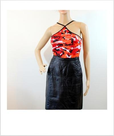57552722d5 Vintage leather skirt/ black 100% leather/ pencil skirt/ woman 12/ CHIA