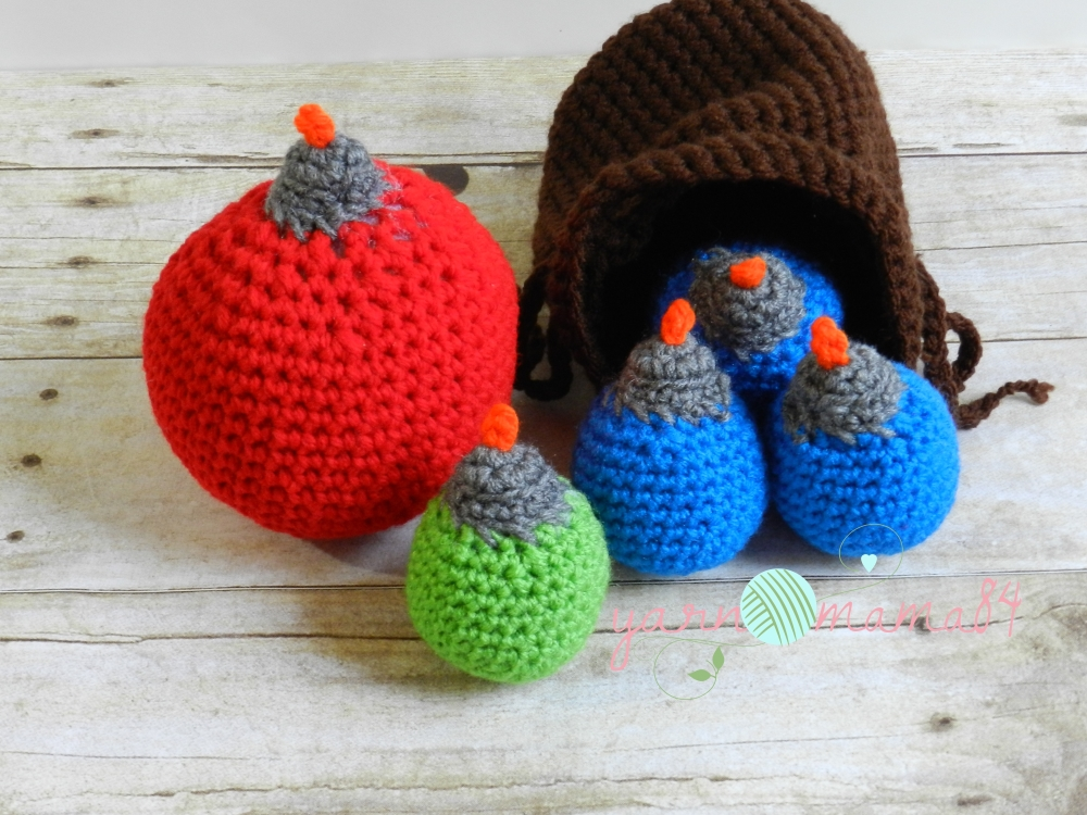Crochet Zelda Inspired Bomb Bag And 3 Blue Bombs From