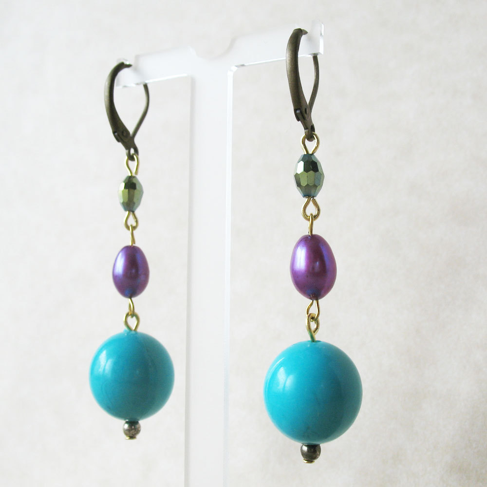 Turquoise Blue Beaded Earrings  Aqua Blue and Purple Earrings  Retro Pool  Party Chic  from Pulp Sushi