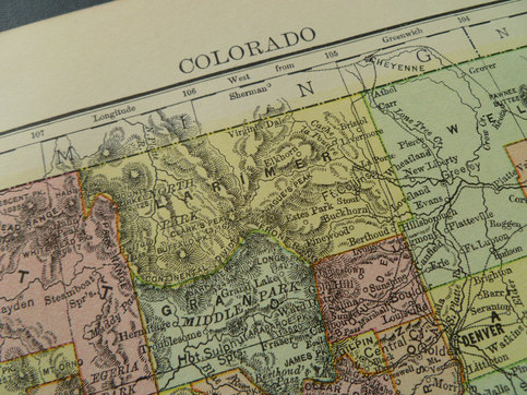 137 Year Old Map Of Colorado State 1877 Antique Print