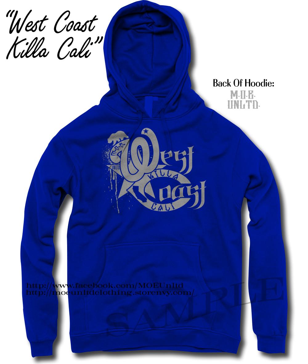 West Coast Killa Cali Blue/Gray Adult Hoodie from M O E  UNLTD  CLOTHING