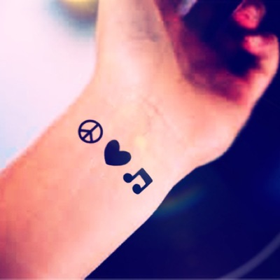 13f4634ab53f8 3pcs tiny peace love music small tattoo - inknart temporary tattoo - pack  tattoo quote wrist