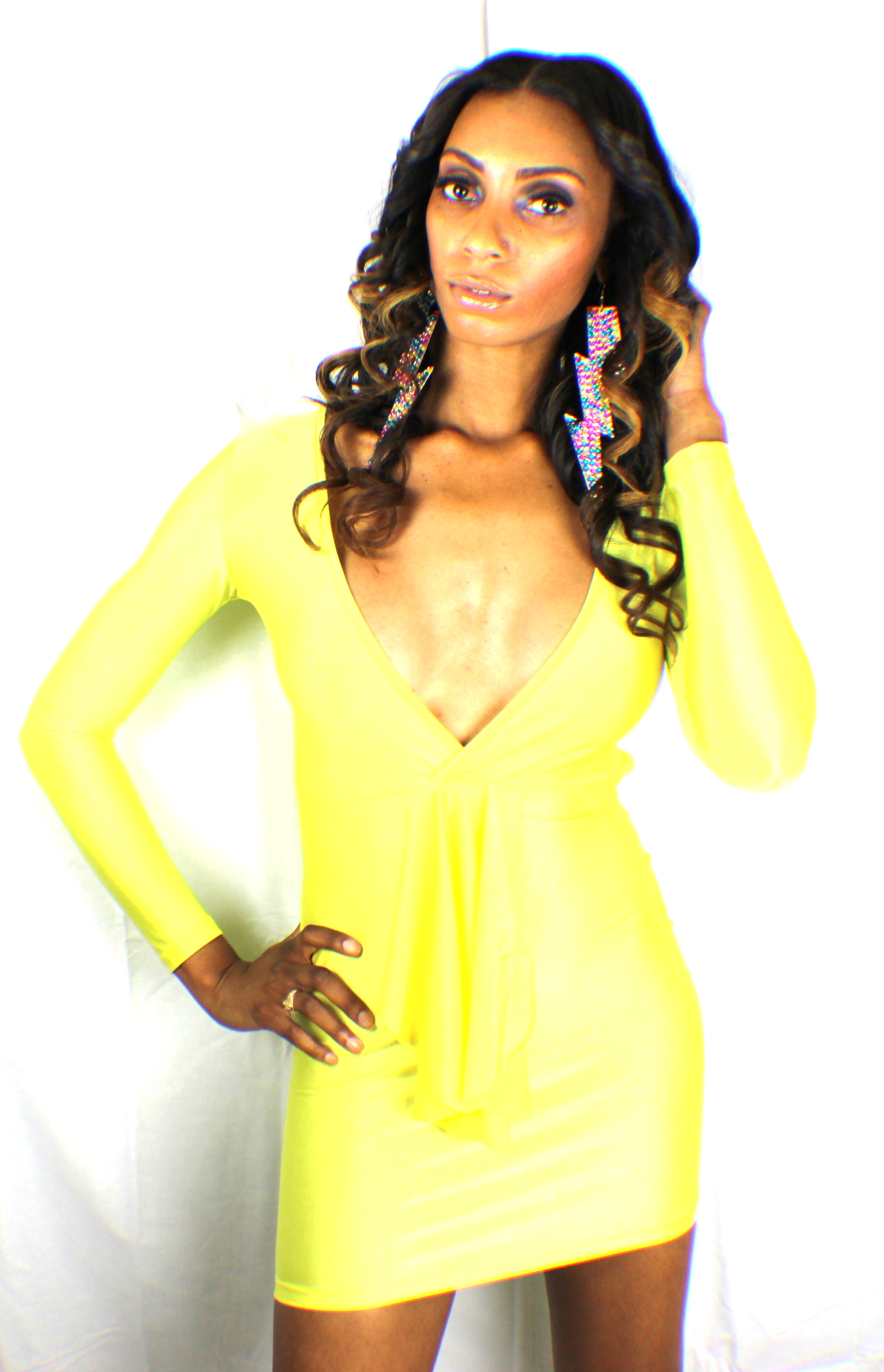Yellow club banger fitted Dress · Harmony Kouture · Online ...