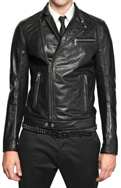 625211388 MENS SLIM-FIT LEATHER JACKET WITH ZIP POCKET, LEATHER JACKETS MEN'S