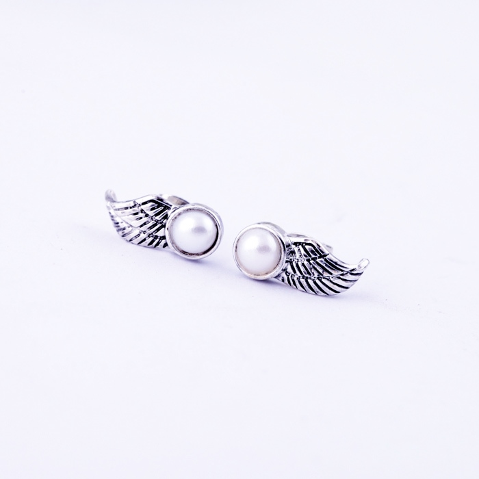 dfdc97053 Fashion Vogue Sterling Antique Silver Plated Angel Wing Pearl Stud Earrings  - Thumbnail 1 ...