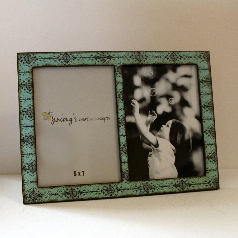 Double 5x7 Wood Picture Frame Turquoise Black Scroll On Storenvy