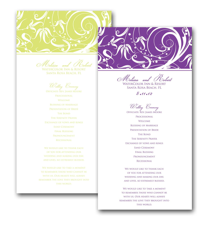 elegant swirl border wedding program on storenvy