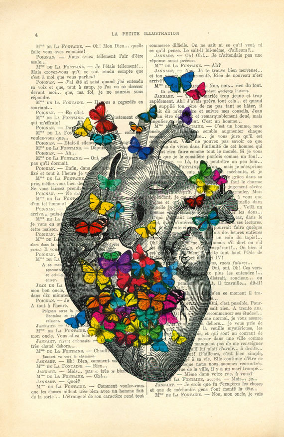 Anatomical Heart With Butterflies Butterfly Art Vintage Human