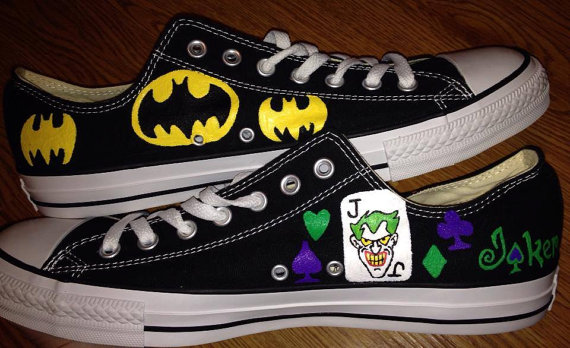 58da8ac0fbf9 Batman   Joker Hand Painted Custom Shoes on Storenvy
