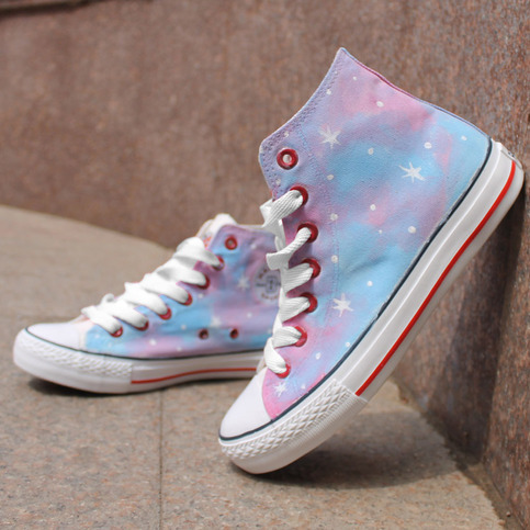 Pink Stars Pattern Tie Dye Hand Painted High Top Canvas