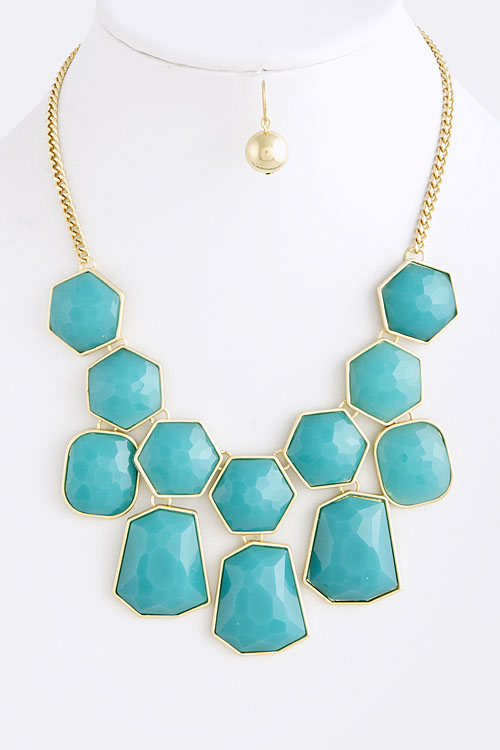 Top Turquoise and Gold Statement Necklace with Matching Gold Earrings  NH68