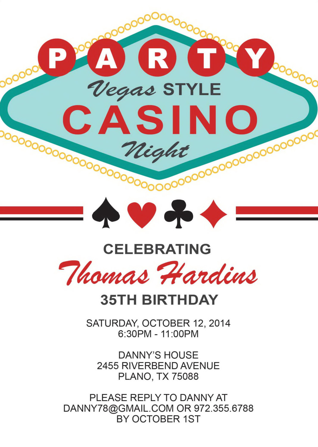 Las Vegas Birthday Invitation Adult Birthday Party Invitation