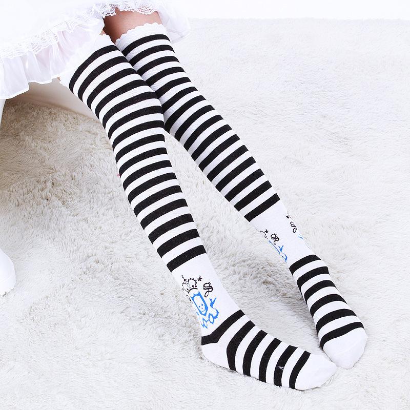 083117cd166 black white stripe skull school print over the knee high socks gothic lolita  creepy cute OTK