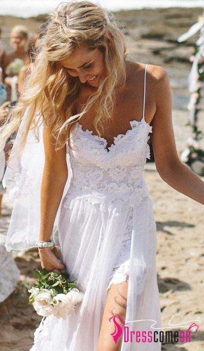 be8b73d924b Perfect Boho Beach Wedding Dress A Line Spaghetti Straps Lace Bodice Chiffon  Skirt Simple Summer Low