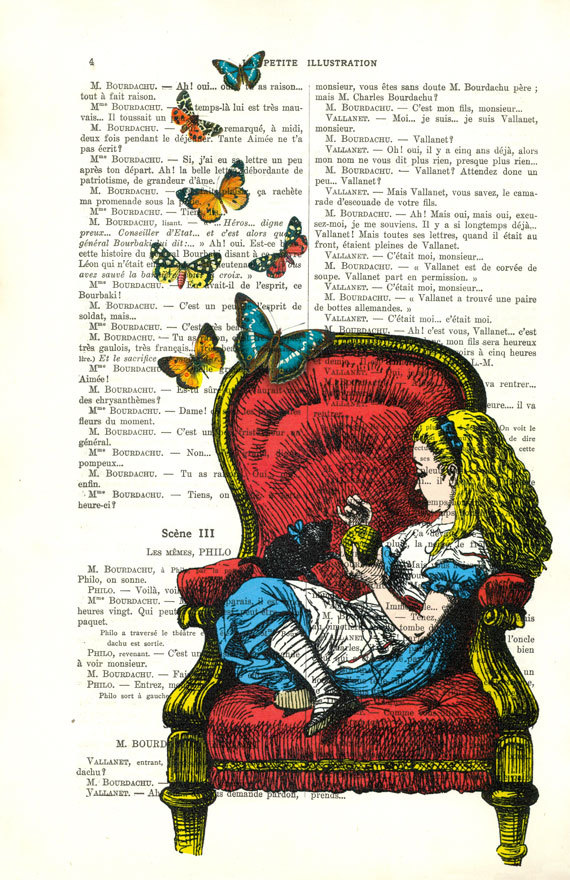 alice in chair with butterflies, alice art - alice in ...