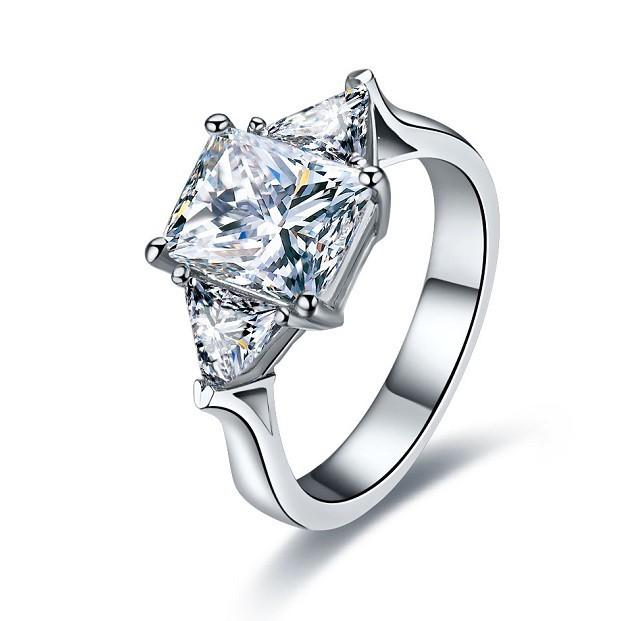 3 CT Center NSCD SONA Princess Radiant Cut Diamond Anniversary