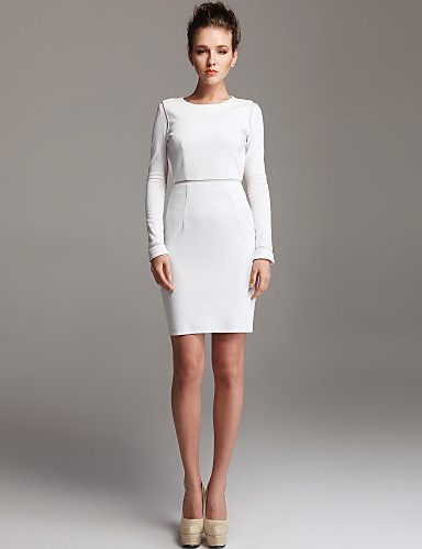 Long under bodycon sleeve dress 100 white maxx
