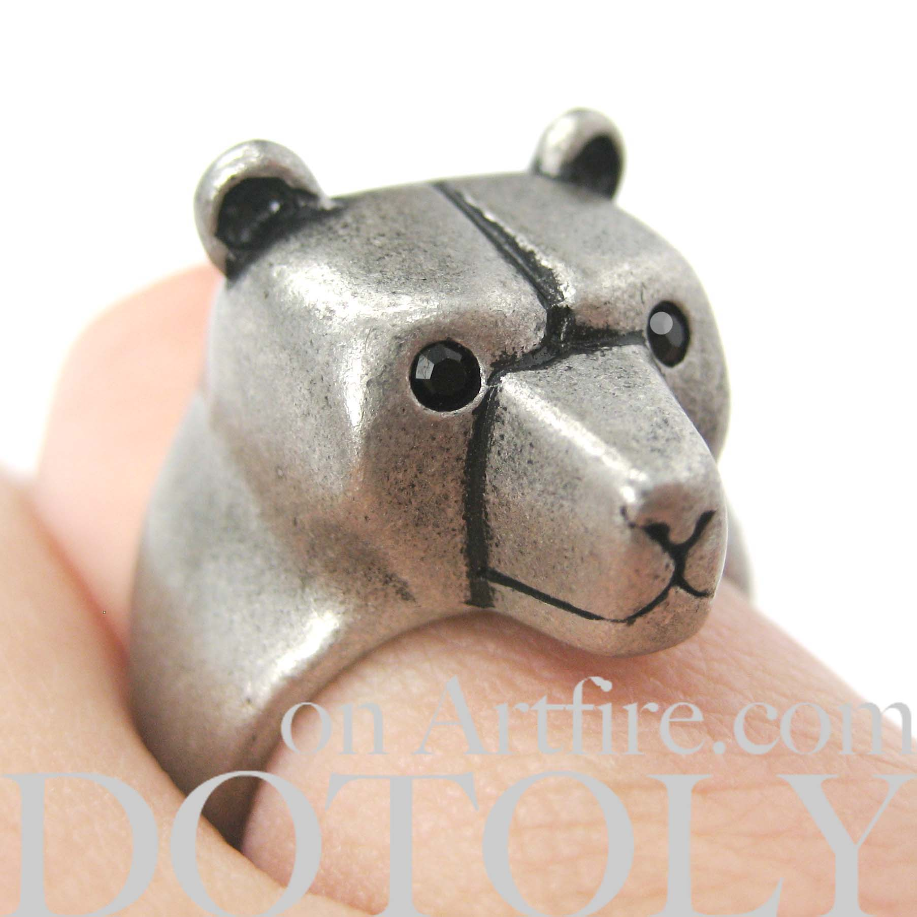 Bear In Hing Reng 2: Adjustable 3D Polar Bear Animal Wrap Around Cute Ring In