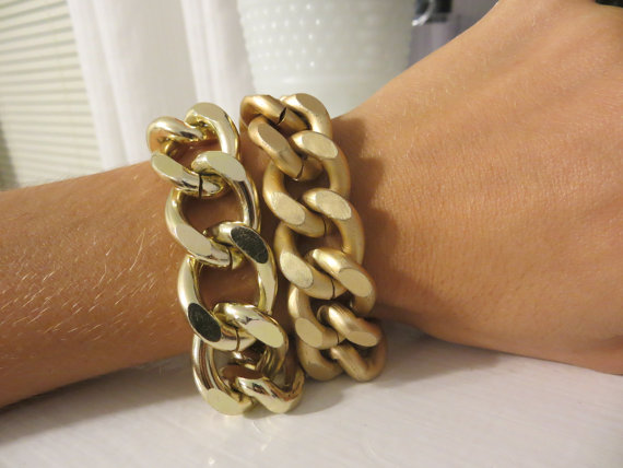 4d9682e2ea65f Thick and Chunky Shiny Gold OR Matte Gold Chain Bracelet / Large Chain  link, statement bracelet, trendy matte, high polished stack jewelry