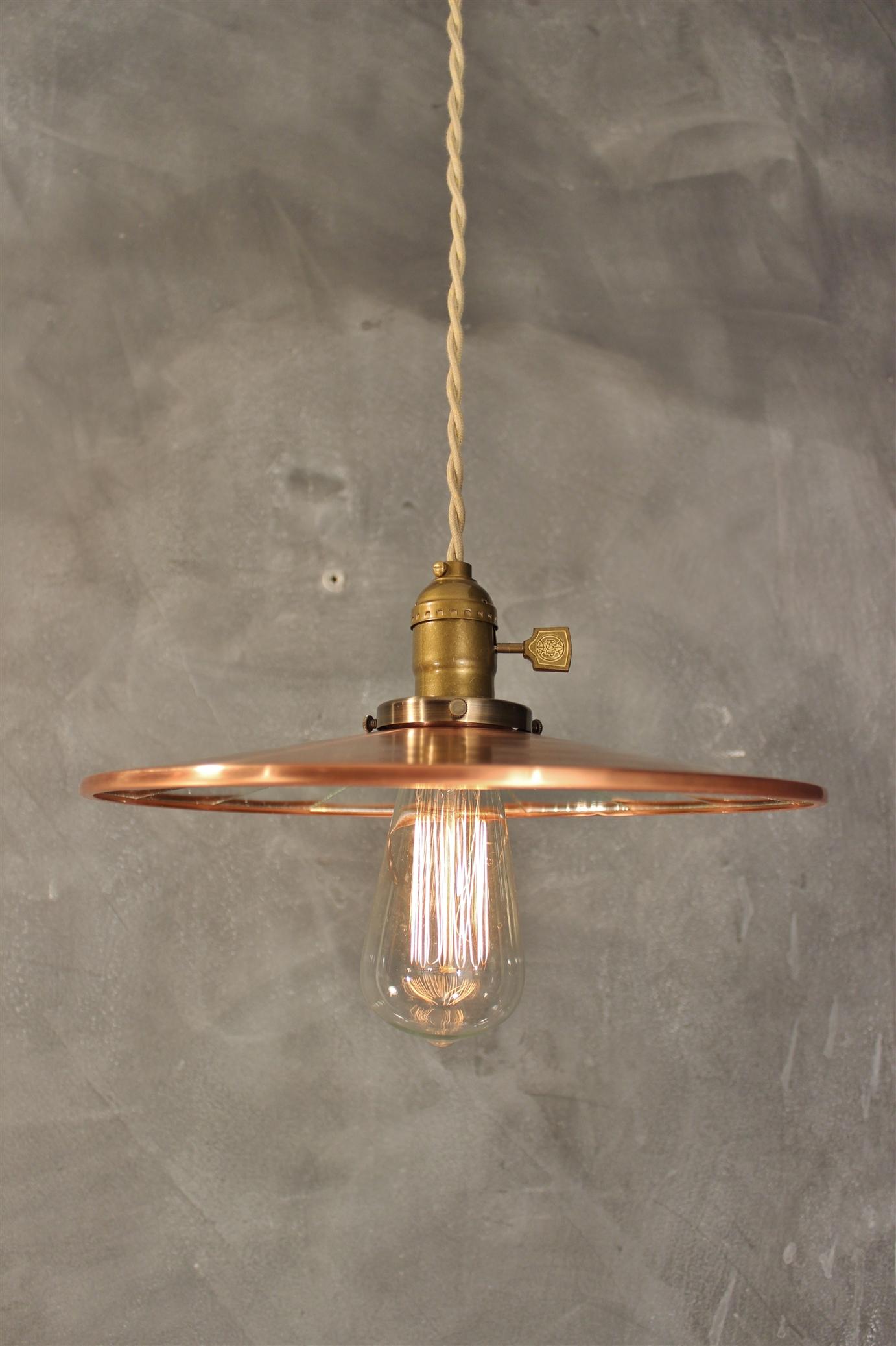 Industrial Pendant Lamp w/ Flat Mirror Reflector Shade ...