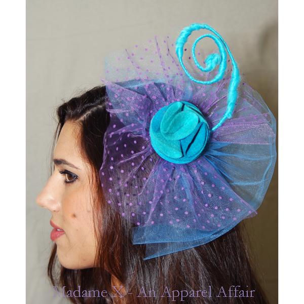 1967ab4bb44ee Aqua blue rose fascinator w  baby blue   lavender polka dot tulle on  Storenvy
