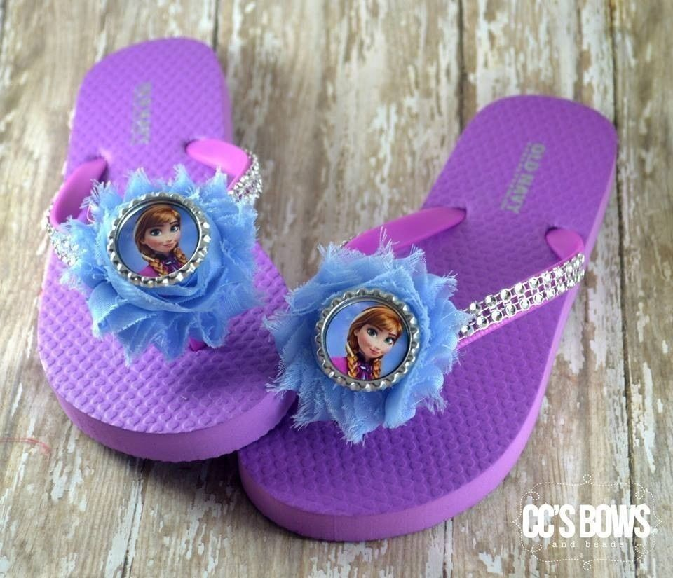 92c974ca33f1 Disney Frozen Anna Handmade Purple Old Navy Flip Flops Sandals Girls ...