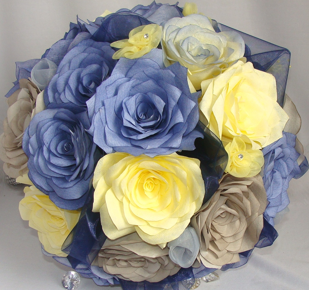 Yellow And Grey Wedding Flowers: Navy Blue, Yellow And Grey Bouquet, Wedding Bouquets