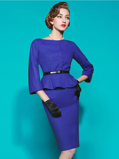 Long Sleeve Peplum Skirt Suit On Storenvy