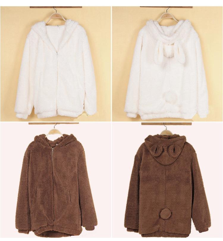 teddy bear plush rabbit ears winter coat harajuku. Black Bedroom Furniture Sets. Home Design Ideas