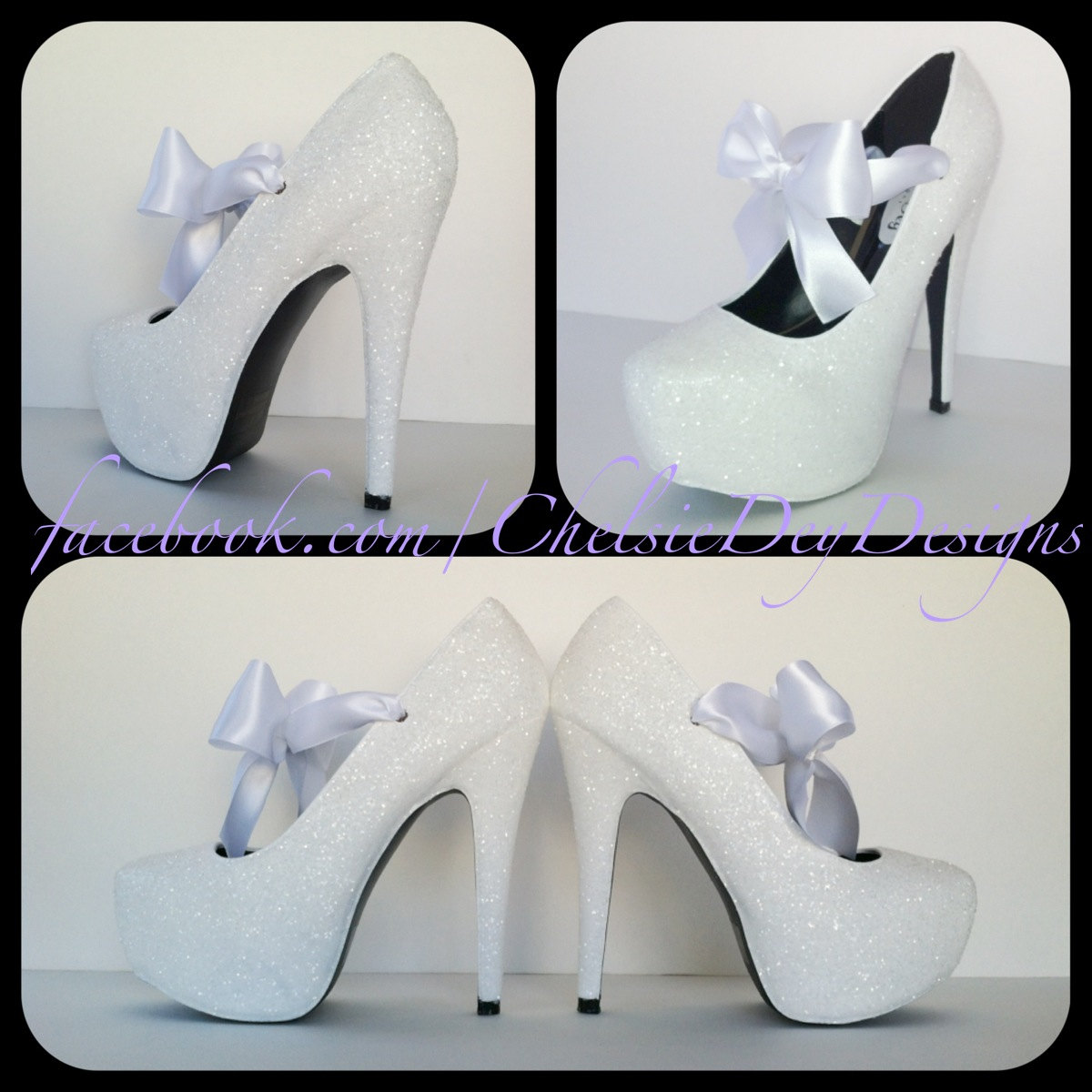 a062f1beb06 White Glitter High Heels, Wedding Platform Pumps, Sparkly Shoes with Satin  Bows