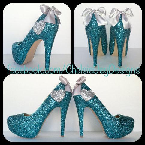Teal Aqua Blue Turquoise Silver Heart Glitter Pump High