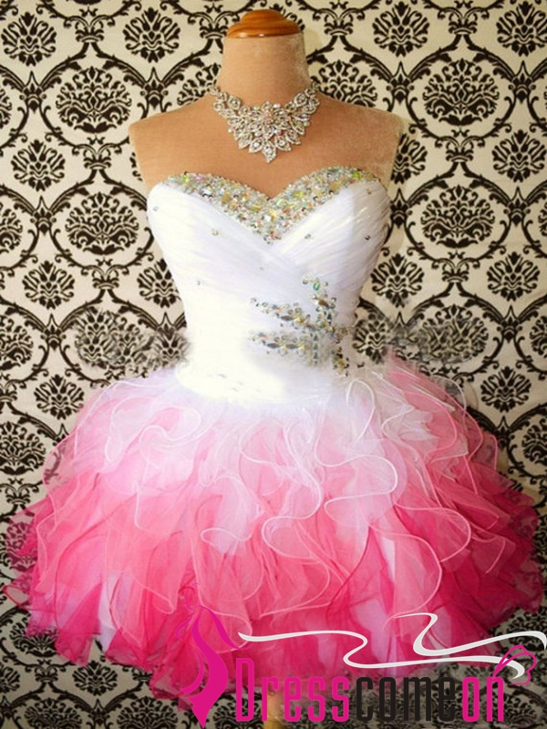 Sexy Ball Gown Ombre White Pink Tulle Short Homecoming Prom Dress