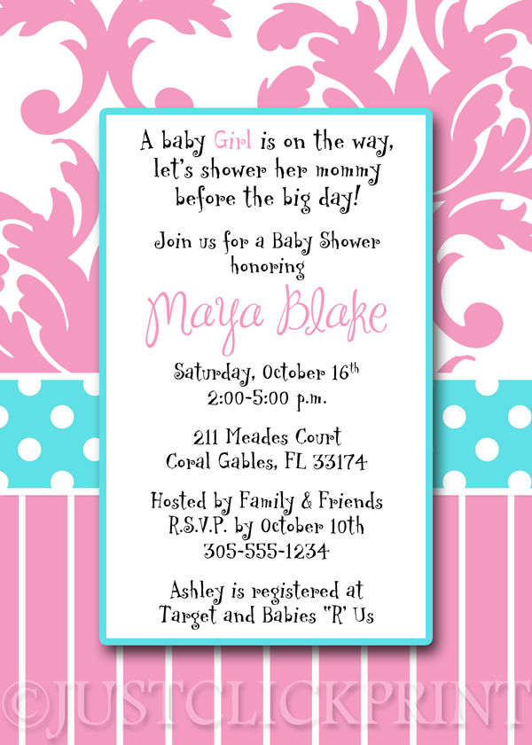 tiffany blue pink damask baby shower invitation pintable just