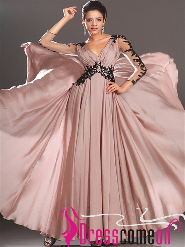 Hot Sales Long Sleeves Black Lace Pink Chiffon V Neck Prom Dress