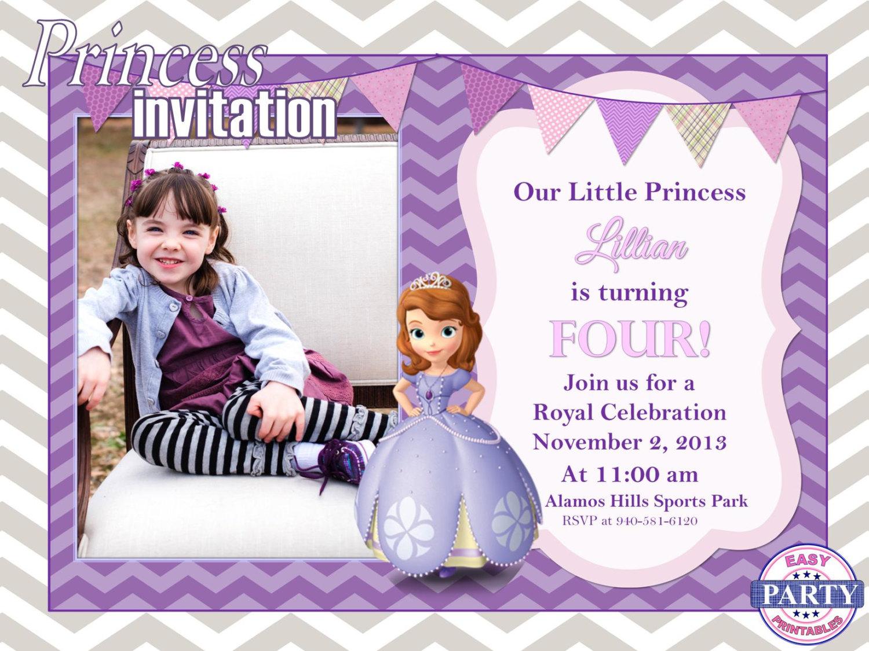 Sofia The First Personalized Birthday Invitation Purple Chevron Digital Download Party Custom Princess