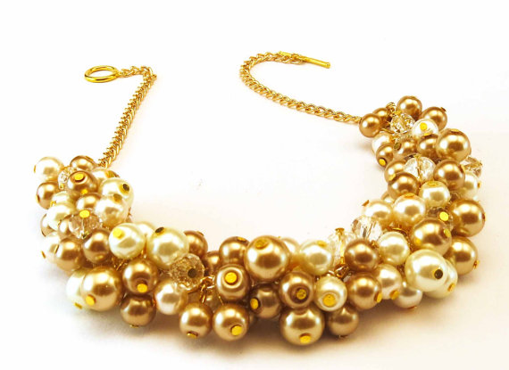 Chunky Pearl Necklace Gold Pearl Necklace Bridal Necklace