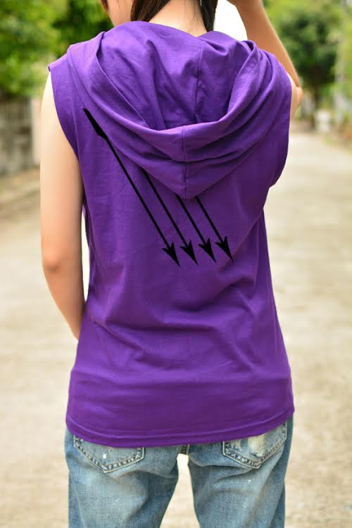 Hawkeye Archery T-shirt Hoodie With Arrow On The Back Side Sleeveless Sporting Goods Outdoor Sports