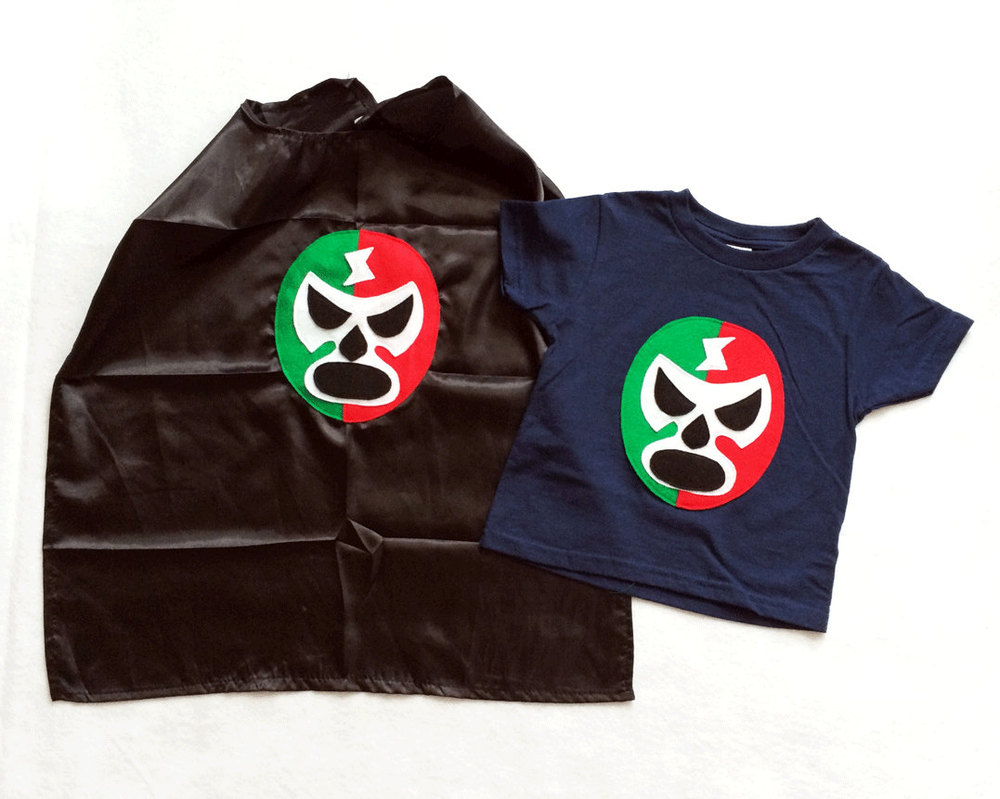 08d7419f39ddc Luchador Rojo + Verde - Red + Green Mexican Wrestler Toddler T-Shirt &  Black Cape Combo from mi cielo