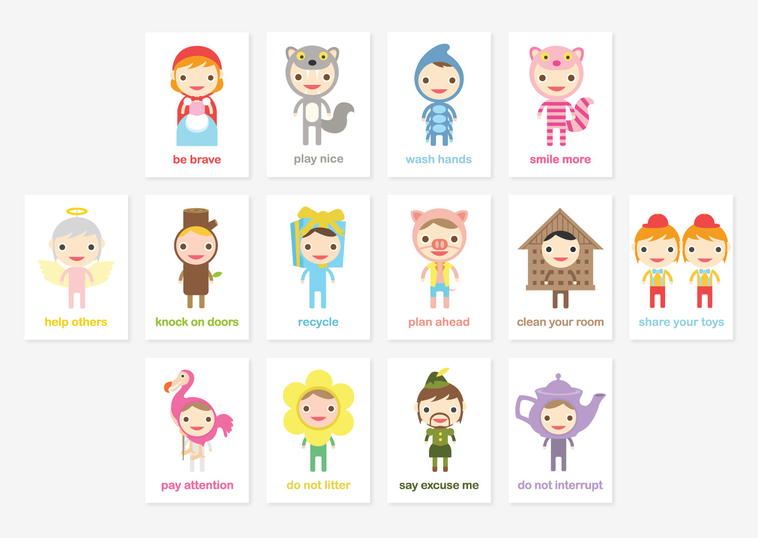Happy Manners Card Set A of 14 - Good Manners Learning & Educational Flash  Cards // Kids Wall Art Children Room Decor