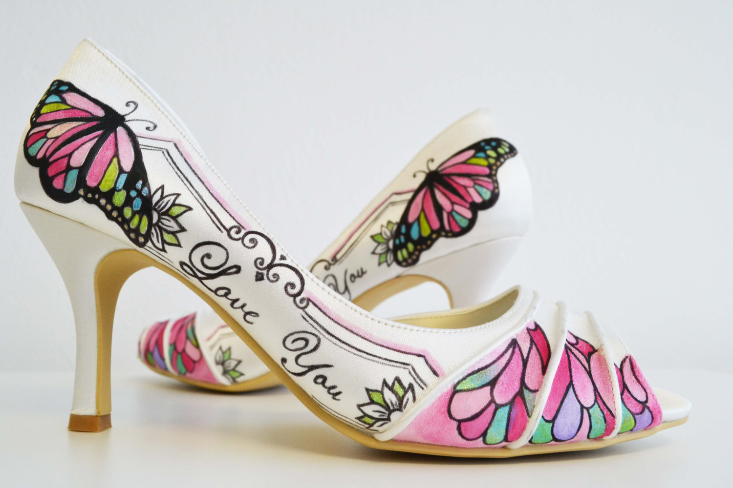 319adca4b37 Wedding Shoes - Bridal Shoes - Love you Shoes- Hand painted Heels- Pink  Shoes- Butterfly shoes