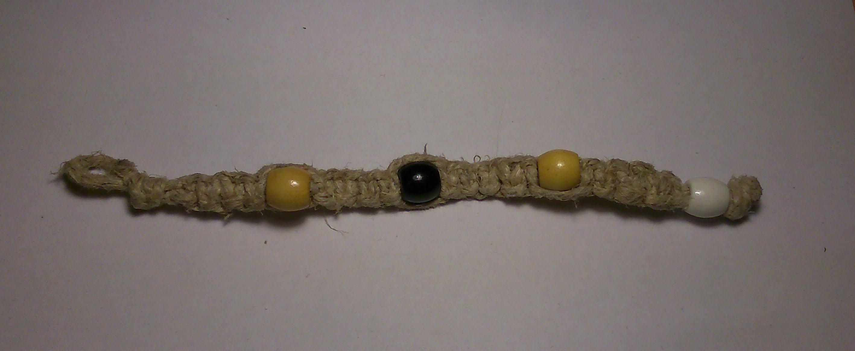 6354fa6f563130 Hemp Bracelet Large Black And Yellow Beads on Storenvy